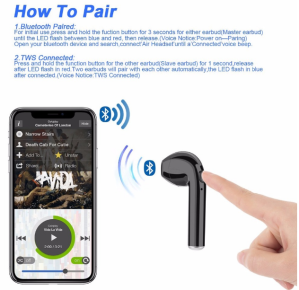 i7 Bluetooth Wireless Headphones connecting